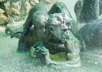 Water Fountain with sculptures in Bourdeaux city center