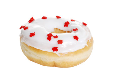 Vanilla Doughnut With Red Maple Leaves