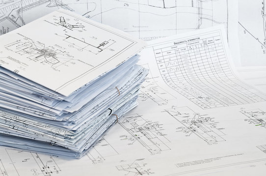 Single-sheet stationery of design and project drawings.