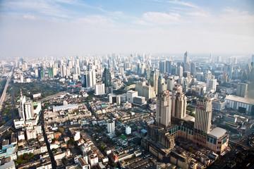 View across Bangkok skyline with skyscraper