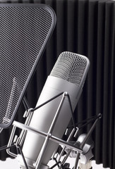 Professional studio microphone on white background