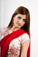 Pretty woman in traditional Indian cloths