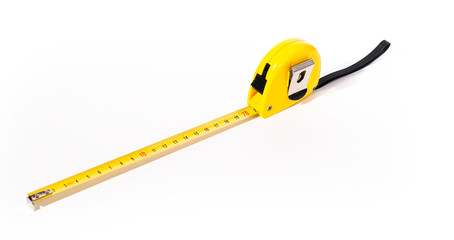 Yellow measuring tape over white background