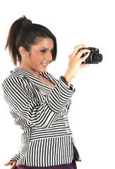 Beautiful business woman with digital camera