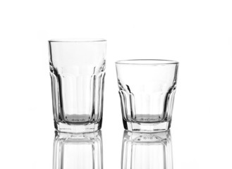 Two glasses for drinks isolated on white