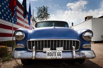 Fotobehang Route 66 Voiture et drapeau USA