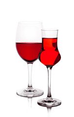 Two wine-glasses with red wine