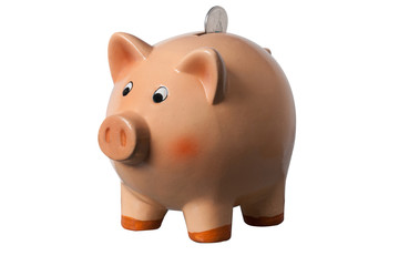 Piggy Bank with coin in slot