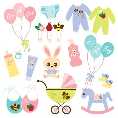 Variety of baby products.