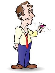 businessman drink wine