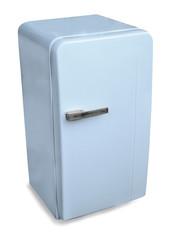 Classic Fridge Blue. Isolated on white
