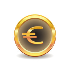gold button with euro sign