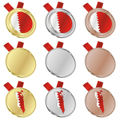 fully editable bahrain vector flag in medal shapes