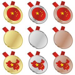 fully editable china vector flag in medal shapes