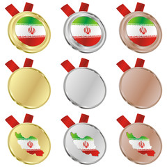 fully editable iran vector flag in medal shapes