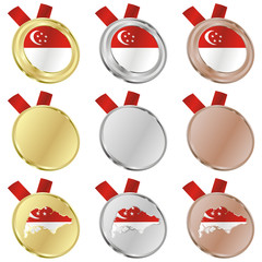 fully editable singapore vector flag in medal shapes