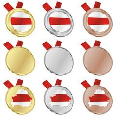 fully editable belarus vector flag in medal shapes