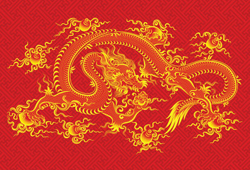 Red chinese dragon - vector illustration of mythological animal