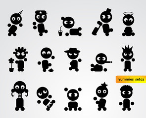Funny black people icons -  set 02