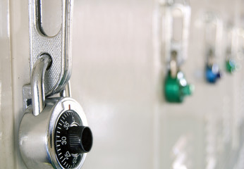 School lockers with combination locks