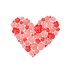 Pink floral heart shape