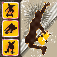 Skateboarders silhouettes background