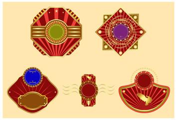 Vector set: gold-framed labels.