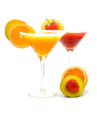 Tropical Cocktails over white background