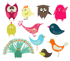 Set of cute colorful birds