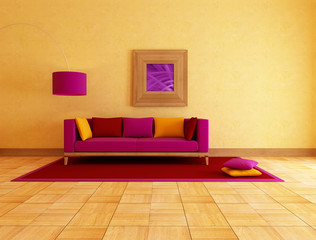 colored couch in a ethnic lounge , rendering