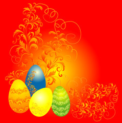 easter background, easter eggs with floral ornament