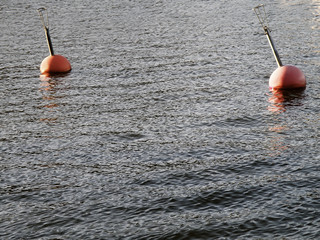 two red buoy