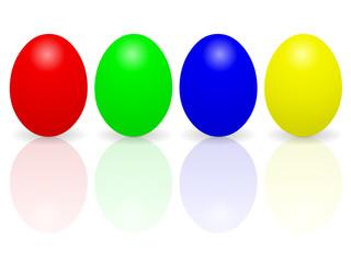 Quatre oeufs colorés