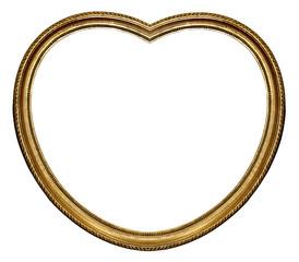 vieux cadre doré en forme de coeur