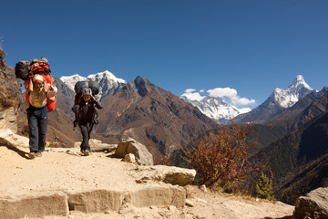 Trekking porters on the road to Base Camp, Nepal