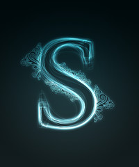 Glowing font. Shiny letter S.