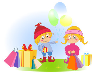 Cartoon funny kids with present and balloons