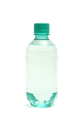Plastic bottle of pure water on a white background.