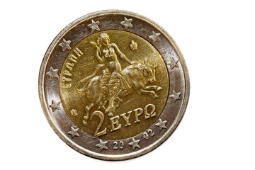 Greek 2 euro coin with Europa riding the bull