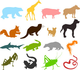Set of animals icons  - silhouettes 03