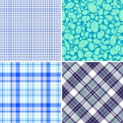 Set blue seamless patterns