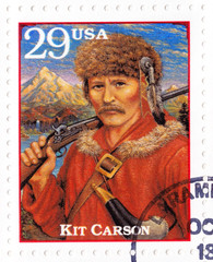 Stamp shows Kit Carson