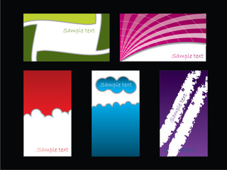 Color business card set on black
