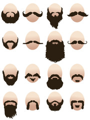 Set of mens faces with beards and mustaches
