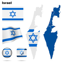 Israel  vector set. Shape, flags and icons.