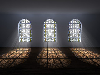 Stained-glass windows with light coming from behind