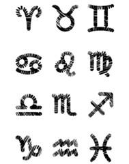 Set of black zodiac symbols