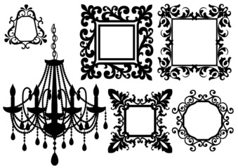 picture frames and chandelier, vector