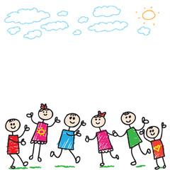 Cartoon doodle children palying