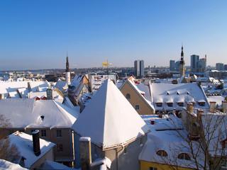 Fresh snow on roofs of old Tallinn